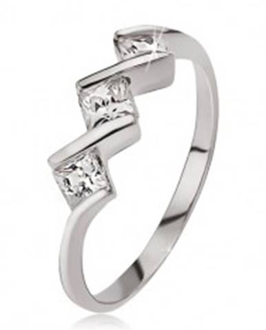 Strieborný prsteň 925, tri číre štvorcové kamienky - Veľkosť: 49 mm