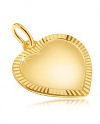 Zlatý prívesok 585 - veľké pravidelné matné srdce, ligotavá ryhovaná obruba GG29.17