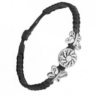 Čierny pletený náramok zo šnúrok, známka s kvetom, motýle