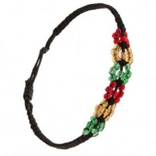 Korálkový náramok, čierna šnúrka, farebné kruhy S20.04