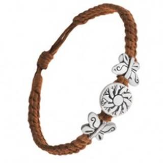 Náramok z čokoládovohnedých šnúrok, motýle, známka s kvetom Q21.20