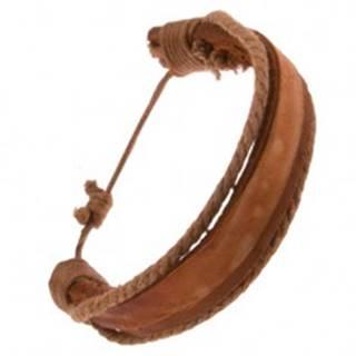 Náramok z kože - hrubý a tenký karamelovohnedý pás, hnedé šnúrky Q20.20