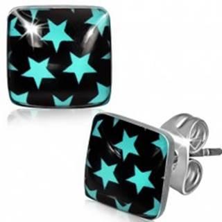 Náušnice z ocele, čierne štvorce s modrými hviezdami