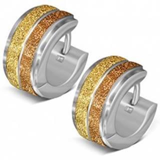 Okrúhle náušnice z ocele, dva pieskované pásy zlatej farby
