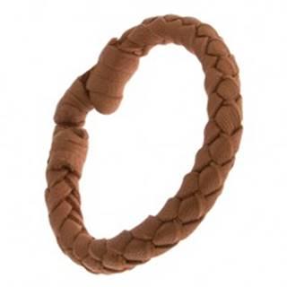 Orieškovohnedý kožený náramok, oblý pletenec Q22.11