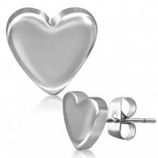 Puzetové náušnice z ocele, hladké súmerné srdce