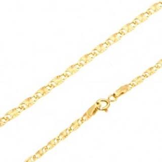 Retiazka v žltom 14K zlate - ploché podlhovasté články, lúčovité ryhy, 550 mm