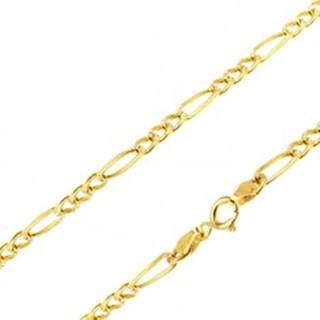 Retiazka zo žltého 14K zlata - tri malé očká a jedno podlhovasté, ryhy, 445 mm