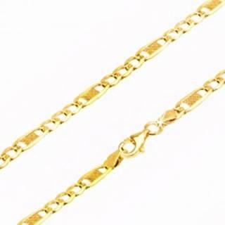 Retiazka zo žltého 14K zlata - tri očká a jedno dlhšie s mriežkou, 500 mm GG24.02