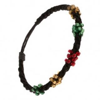 Špirálový náramok z čiernych šnúrok, korálky troch farieb Q22.01