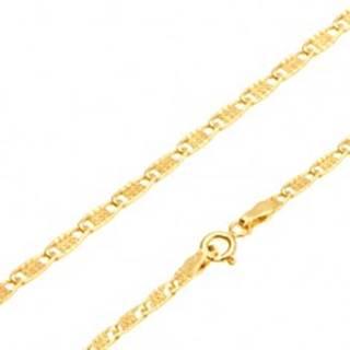 Zlatá retiazka 585 - lesklé ploché oválne očká s mriežkou, 550 mm