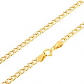 Zlatá retiazka 585 - zarovnané oválne hrubšie očká, ryhovanie, 500 mm