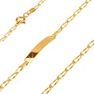 Zlatý 14K náramok s platničkou - podlhovasté lúčovito ryhované očká GG25.16