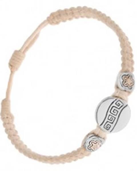 Krémový šnúrkový náramok - tri okrúhle známky, grécky kľúč, kvietky