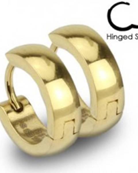 Oceľové náušnice - krúžky zlatej farby s lesklým hladkým povrchom