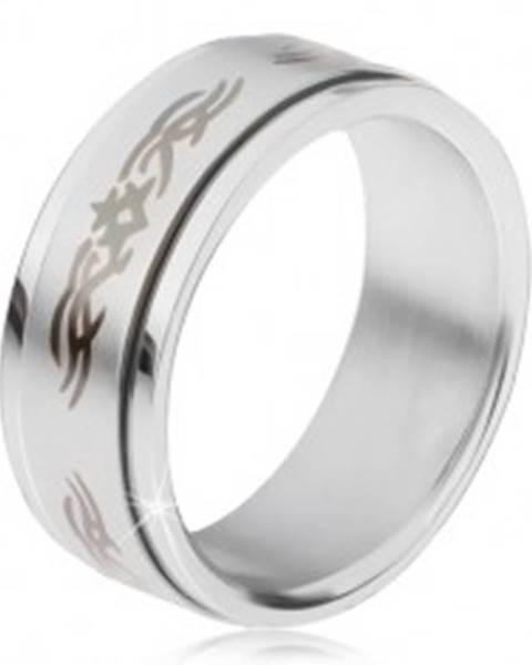 Oceľový prsteň, matná točiaca sa obruč s ornamentom - Veľkosť: 57 mm