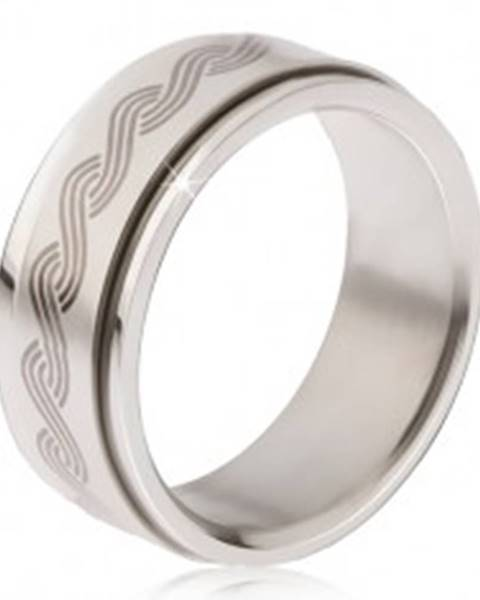Oceľový prsteň - točiaca sa matná obruč, potlač gréckeho pletenca BB17.09 - Veľkosť: 57 mm