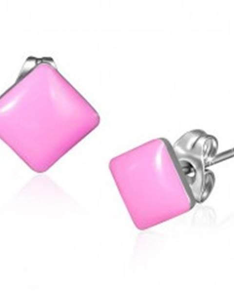 Puzetové náušnice z ocele - lesklé štvorce ružovej farby