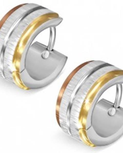 Trojfarebné oceľové náušnice - saténové pásy striebornej farby, lesklá ryha