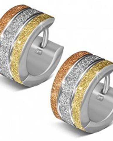 Pieskované okrúhle náušnice z ocele, tri farebné pásy S28.12