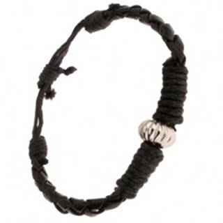 Čierny pletený náramok ovinutý šnúrkou, ozdobná korálka S31.14