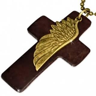 Náhrdelník - hnedý kožený kríž, krídlo, armádna retiazka