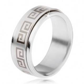 Oceľový prsteň, točiaca sa matná obruč, grécky kľúč sivej farby - Veľkosť: 57 mm