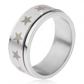 Oceľový prsteň - točiaca sa matná obruč, potlač šedých hviezd - Veľkosť: 56 mm