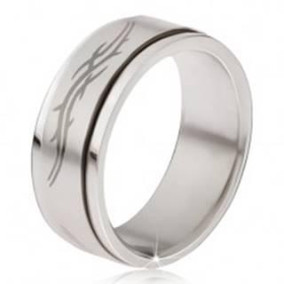 Prsteň z ocele - matná točiaca sa obruč, šedá potlač tribal motív  - Veľkosť: 57 mm