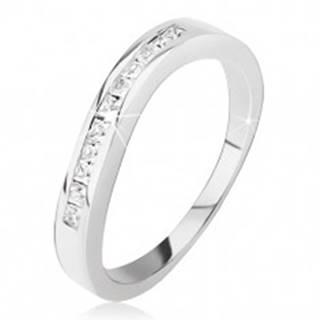 Strieborný prsteň 925 - mierne zvlnený, drobné štvorcové zirkóniky BB11.06 - Veľkosť: 48 mm