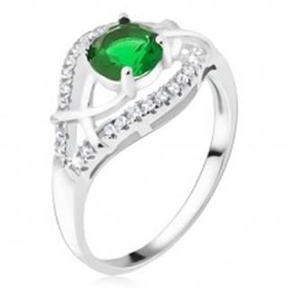 Strieborný prsteň 925 - zelený okrúhly kamienok, zirkónové ramená BB14.15 - Veľkosť: 50 mm