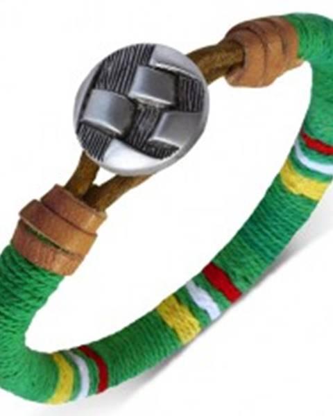 Oblý náramok omotaný zelenou šnúrkou, farebné pásy, gombík