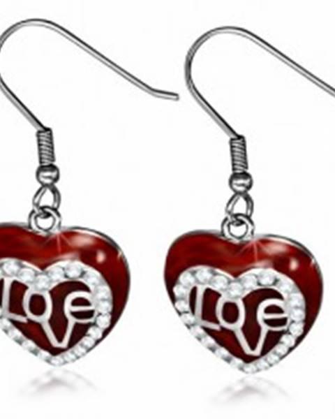 Oceľové náušnice - visiace bordové srdce, číra zirkónová kontúra