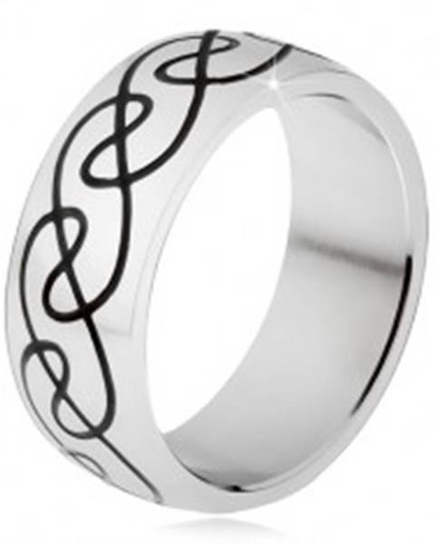 Prsteň z chirurgickej ocele - zaoblená obrúčka, ornament zvlnených línií - Veľkosť: 54 mm