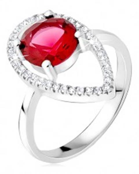 Strieborný prsteň 925 - okrúhly červený kameň, slzičková kontúra zo zirkónov BB16.18 - Veľkosť: 50 mm