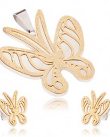 Set z ocele zlato-striebornej farby, prívesok a náušnice, pieskovaný motýľ S45.31
