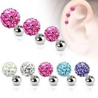 Oceľový piercing do ucha, farebná zirkónová gulička, 4 mm - Farba zirkónu: Aqua modrá - Q
