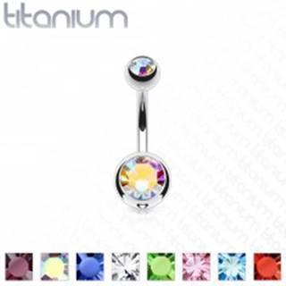 Titánový piercing do pupka s dvomi farebnými kamienkami, dĺžka 10 mm - Farba piercing: Aqua