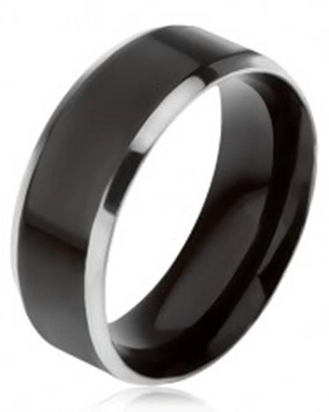 Čierna obrúčka z ocele 316L, šikmé okraje striebornej farby - Veľkosť: 56 mm