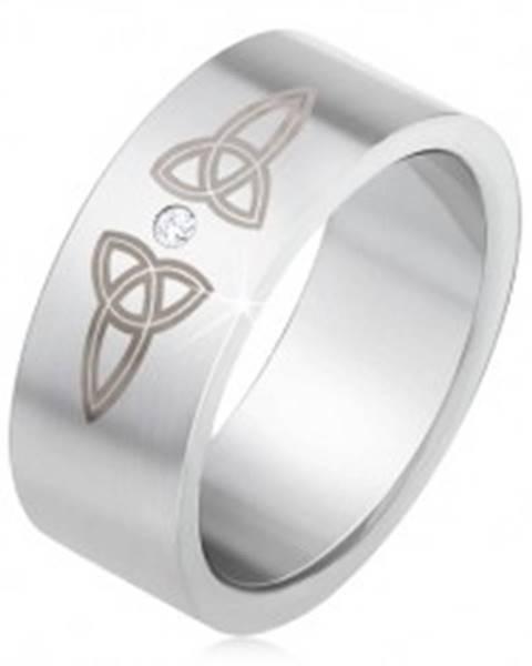 Matná rovná obrúčka z ocele 316L, číry kamienok, keltské symboly BB1.18 - Veľkosť: 55 mm