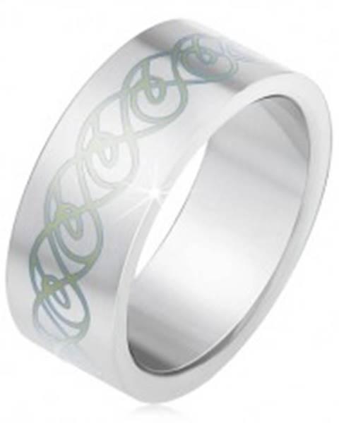 Oceľový prsteň, matný rovný povrch, ornament zo zatočených línií BB2.6 - Veľkosť: 55 mm