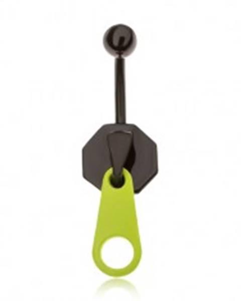 Piercing do brucha z ocele, čierny zips s neónovozeleným jazýčkom