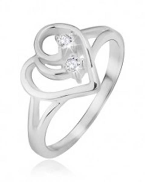 Prsteň, striebro 925, rozdvojené ramená, obrys srdca, číre kamienky - Veľkosť: 48 mm