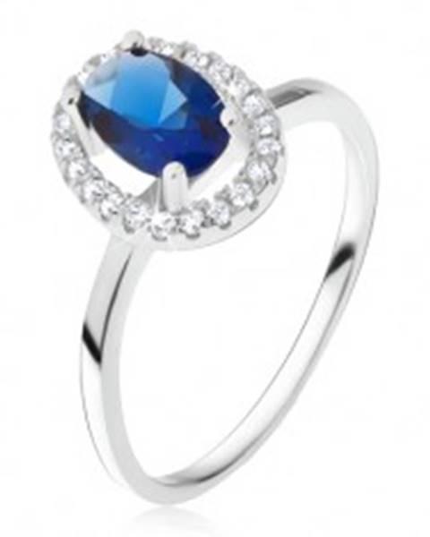 Prsteň zo striebra 925, oválny modrý kameň so zirkónovým rámom H18.7 - Veľkosť: 49 mm