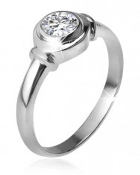 Strieborný prsteň 925, okrúhla objímka so zirkónom, dve obrúčky T17.11 - Veľkosť: 48 mm