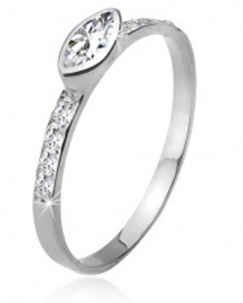 Zirkónový prsteň, kamienkové ramená, elipsovitý kamienok, striebro 925 J12.7 - Veľkosť: 49 mm