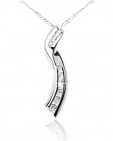 Lesklý náhrdelník, retiazka, zatočená stužka, číre zirkóny, striebro 925