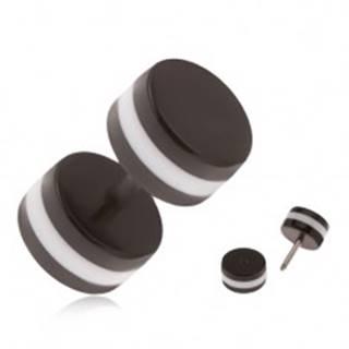 Akrylový falošný piercing do ucha, čierne kolieska, biely obvodový pás