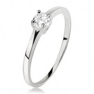 Hladký prsteň striebro 925, okrúhly číry zirkón v kotlíku so štyrmi kolíčkami J15.19 - Veľkosť: 49 mm