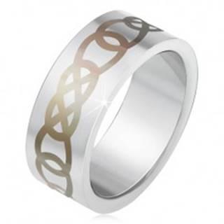 Matný oceľový prsteň striebornej farby, sivý ornament z obrysov sĺz BB2.7 - Veľkosť: 55 mm